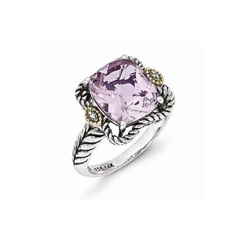 Sterling Silver w/14k Gold Antiqued Pink Amethyst and Diamond Ring