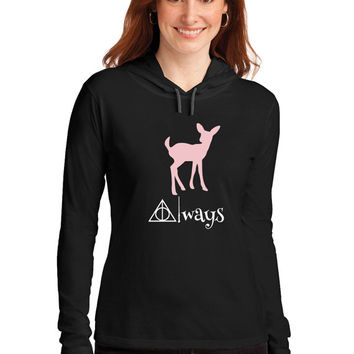 Always, Doe Patronus Long Sleeved Hooded Ladies T Shirt. Hooded Tee, Severus Snape, Harry Potter,