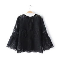 Floral Pattern Three Quarter Length Sleeve Lace Blouse