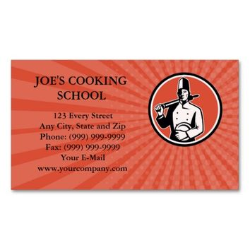 Business card Cook Chef Baker With Roller Retro