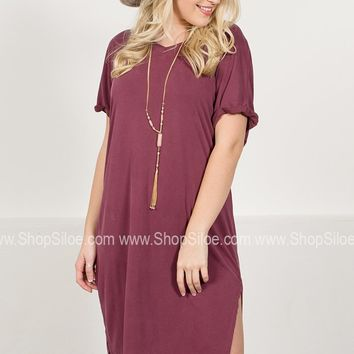 Relaxed Fit Midi Dress | Burgundy