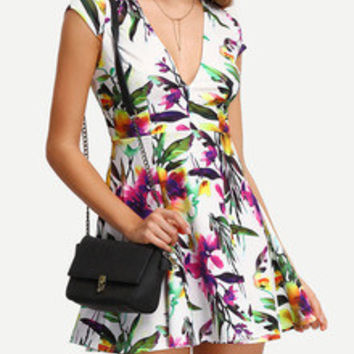 Skater Dress with Bright Colorful Floral Print
