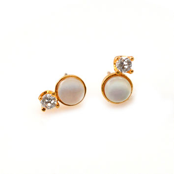 Pearl and Diamond Dublet Studs