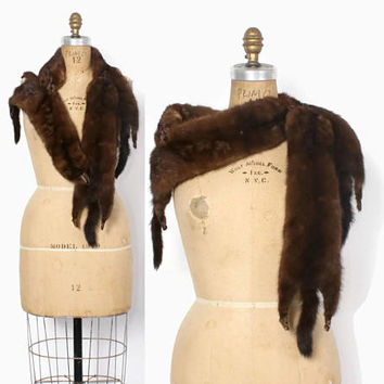 Vintage 40s MINK STOLE / 1940s Dark Brown Full Pelt Fur Wrap