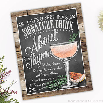 Wedding Decoration | Personalized Signature Drink Sign | Rustic, Classic Gatsby Deco Wedding Keepsake Gift - About Thyme Vodka Cocktail
