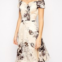 Chi Chi London Premium Oversize Mono Floral Midi Dress With Bardot Neck