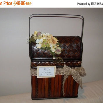 ON SALE Rustic Wedding Trunk Cardholder / Vintage Wedding Card Box