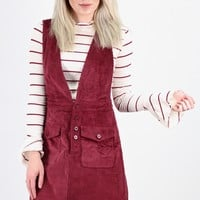 Corduroy Button Front V-neck Overall Dress {Burgundy}