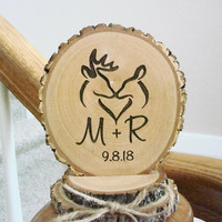 Rustic Wood Cake Topper, Buck & Doe Topper, Hunting Cake Topper, Personalized Cake Topper, Wood Cake Top, Deer Cake Topper