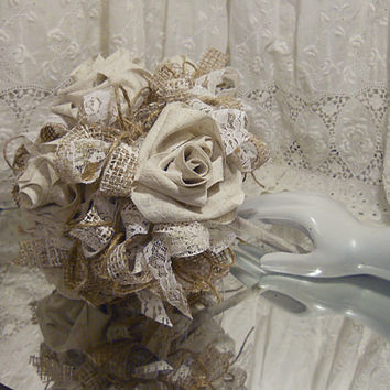 Burlap Bridal Bouquet with handmade ecru tone cotton roses, lace and twine. Take 10% off every order with coupon code 10Percent!
