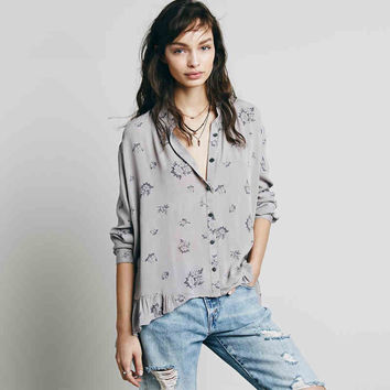 Grey Patterned Asymmetrical Ruffle Blouse