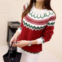 Red Christmas Print Preppy Sweater
