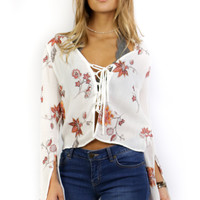 Dream Girl Split Long Sleeve Front Lace Up Top