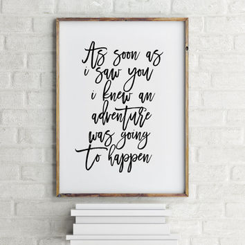 "Gift idea Winnie the Pooh poster ""Adventure"" Nursery print Nursery decor Wall artwork Word art Gift for kids Room poster Printable quotes"