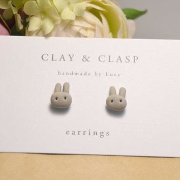 Easter Earrings Bunny Earring Studs   Beautiful Handmade Polymer Clay Jewellery By Clay & Clasp