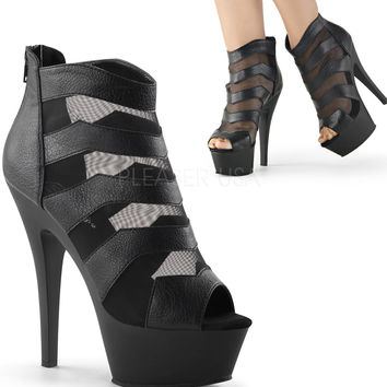 Faux Leather And Mesh Cutout Ankle Boots-Stripper Boots