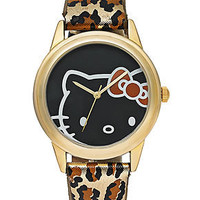 Hello Kitty Watch, Women's Leopard Print Leather Strap 43mm H3WL1003BN - All Watches - Jewelry & Watches - Macy's