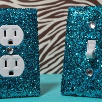 Teal Room Decor ***************************************************************************************************** SET of Chunky TEAL Glitter Switch Plate & Outlet Cover ***********************************************************************************