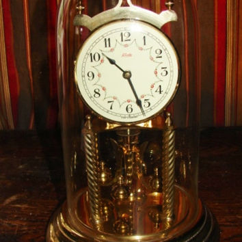 "Beautiful 12"" Kundo 400 Day Anniversary Clock Made in Germany Wonderful Condition w/ Key and Set-Up Instructions"