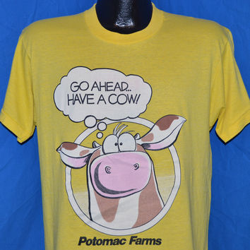 80s Potomac Farms Go Ahead Have a Cow t-shirt Large