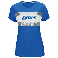 Detroit Lions Women's Light Blue Touchdown Queen T-Shirt
