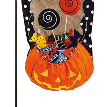 Evergreen Burlap Halloween Candy Treat Garden Flag, 12.5 x 18 inches