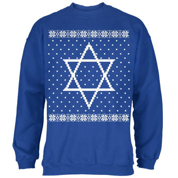 Big Star of David Ugly Hanukkah Sweater Mens Sweatshirt