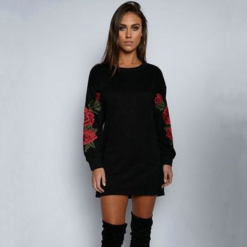 Womens Embroidery Rose Long Sleeve Shirts Dress Sweater +Gift Necklace