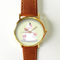 Wedding Cake Watch Watches for Women Men Leather Ladies Jewelry Accessories Gift Ideas Spring Fashion Personalized Unique Vintage Bridal