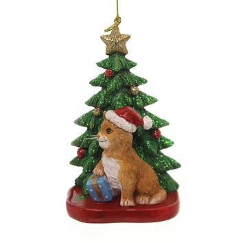 Holiday Ornaments CAT W/ CHRISTMAS TREE Polyresin Feline Star C7609 Tan