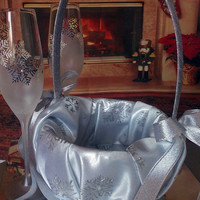 Hand painted Silver flower girl basket Silver Snowflake theme Wedding favor with swarovski crystals