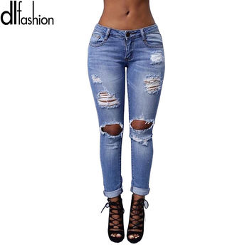 New arrival 2016 vintage ripped jeans for women plus size fashion new slim torn skinny jean ladieswear retrol female pants sale