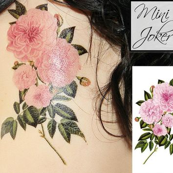 Mini Joker | Awesome Tattoos Pink Rose Temporary Tattoo