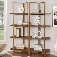 Furniture of america CM-AC6048 Johan 5 tier light walnut finish wood shelves with gold accents bookcase shelf