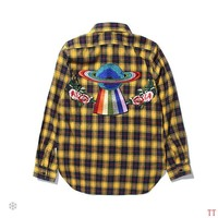 GUCCI 2018 autumn and winter new plaid back embroidery rainbow planet flower long-sleeved shirt Yellow