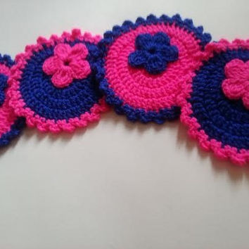 SALE, Four Gorgeous Crochet Coasters, Crochet Coasters with Flowers, Holiday Decorations, Handmade Coasters