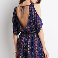 Tribal Print Open-Shoulder Romper