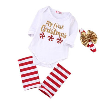 Baby Kids Girls Christmas Letter Print Long Sleeve Bodysuit + Headband + Leg Warmers Newborn Outfit Clothing Set