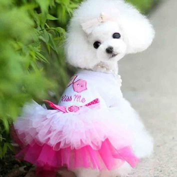 DCCKH6B Small Dog puppy luxury bow dress pet cat dog Tutu skirt Princess wedding party Dress costume dog chihuahua poodle dress clothes