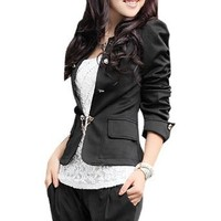 Amazon.com: Allegra K Women Double Breasted Long Puff Sleeve Casual Blazer Coat Black M: Clothing
