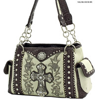 * WESTERN CROSS HANDBAGS CONCEALED CARRY WEAPON PURSE In Bone