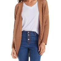 Cognac Cable Knit Cardigan by Charlotte Russe