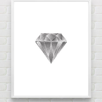 Printable Diamond Art Print Abstract Geometric Print Wall Art Poster Instant Download Grey Wall Art Minimalist Art Home Decor Work Decor