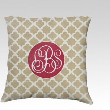 Beige Clover MONOGRAM - Throw Pillow COVER - classic, gifts, chic, clover, decor, sofa, christmas, personalized, mongrammed, tan, jewel tone