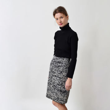 Vintage Wool Boucle Pencil Skirt