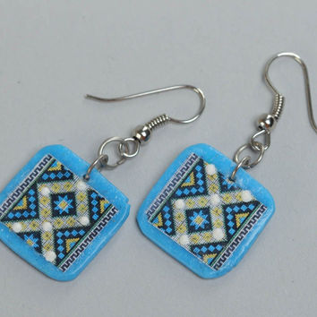 Handmade blue square polymer clay dangling earrings with ethnic ornament
