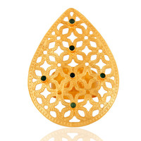 Unique Handcrafted Filigree Gold Vermeil  Green Onyx Gemstone Cocktail Ring - CZ