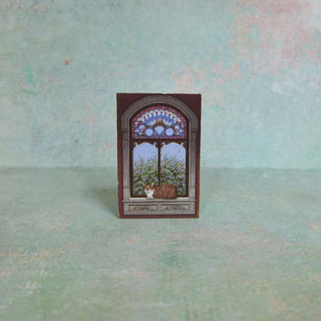 Dollhouse Miniature Cat in the Window Art Print Stand Up Decoration