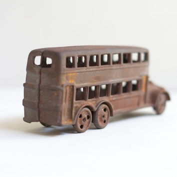 Antique 1950s UK Double Decker Routemaster Car Cast Iron Toy Figurine