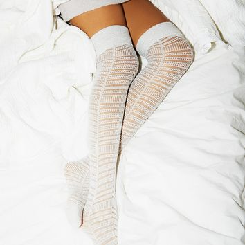 Free People Eclipsed Lurex Over The Knee Sock